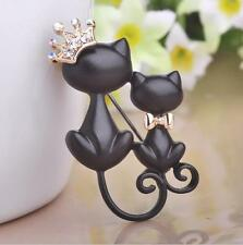 Smooth Black Mother Daughter Cats Brooch Pin Rhinestone Crystal Crown Flower