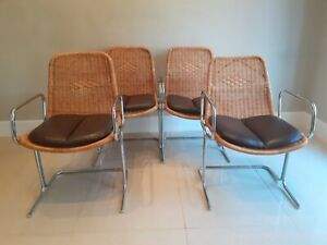 Vintage Mid Century Cane Pieff Dining Chairs Set of Four
