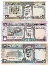 UNC 1984 SAUDI ARABIA 1 + 5 + 10 RIYALS KING FAHD 3  BANKNOTES (Own Ref 2)