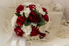 WEDDING FLOWER   BOUQUET IN WHITE AND RED