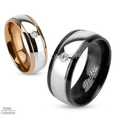 FAMA Stainless Steel 2-Toned Black or Rose Gold IP Dome Ring w/ CZ Size 5-13