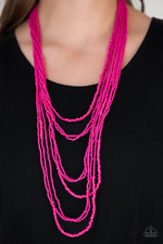 Totally Tonga Pink Seed Bead Necklace Paparazzi