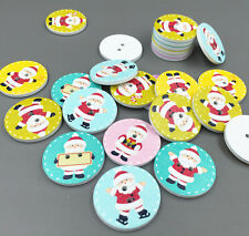 25X Christmas Wooden Buttons Santa Claus pattern Fit Sewing or Scrapbooking 25mm