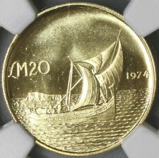 1974 NGC MS 66 MALTA Gold 20 Pounds Gozo Boat Coin 9K Minted (17110901C)