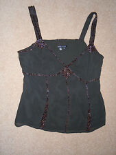 ANNE KLEIN Brown Beaded Silk Top Size 10 New WOT
