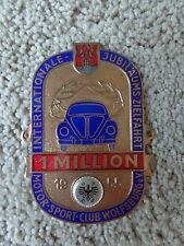 WOLFSBURG 1 MILLION BADGE ADAC VW SPLIT OVAL KDF 1955 RARE Hoff Bonn Volkswagen