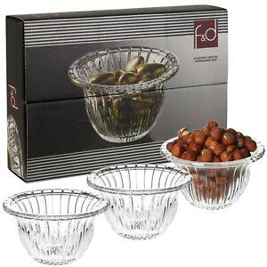 6 x F&D Lead Free Crystal Glass Dessert Bowls Appetiser Snack Dish Gift Box Set