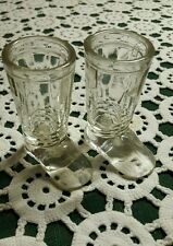 """PAIR OF VINTAGE GLASS  BOOTS  CANDY CONTAINERS  ♢ 3"""" TALL"""