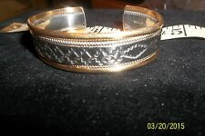 Nice NAVAJO sterling Silver & 12K GF Twisted Wire Cuff Bracelet signed C