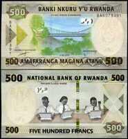 RWANDA 500 FRANCS 2019 P NEW COLOUR UNC