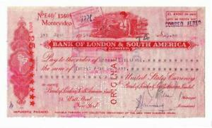 1954 Bank of London & South America-Check-Large Spectacular Piece 23.4 x 12.7 cm