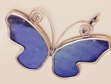 Peruvian Sterling Silver Real Butterfly Wing  Handmade Pendant