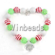 Acrylic Chunky Beads Bubblegum Gumball Jewlery Christmas Pendant Necklace 622