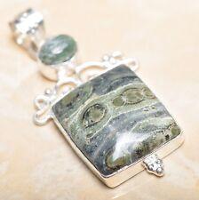 "Handmade Kambaba Jasper Gemstone 925 Sterling Silver Pendant 2.5"" #P14666"