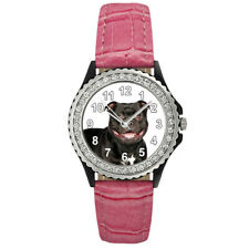 American Staffordshire Terrier Dog Women's Cubic Zirconia Leather Watch Sgp37