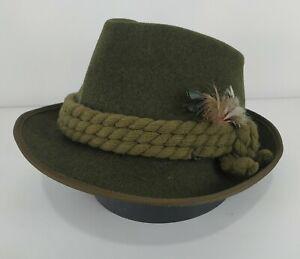 Vintage Zapf A.Breiter Austria Green Fedora Hat Feather Oktoberfest Cap Sz 57 cm