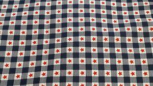 New 108 cm x 102 cm 100% Cotton Fabric Red Stars on Navy/White Gingham Design
