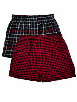Hanes Mens 2-Pack Red & Black Gingham Plaid Flannel Boxer Shorts