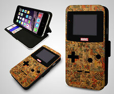 Retro Gaming Marvel Comics Nintendo Game Boy Leather Wallet Phone Case Cover