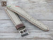 18 19 20 Genuine Italian Cowhide Leather LS VINTAGE CANVAS Watch Strap Ecrù