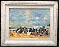 Eugene Boudin (1824-1898)  French Impressionist Oil Painting - figures on beach
