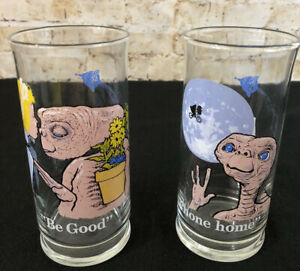 1982 ET Drinking Glasses Pizza Hut E.T. Set of 2  Phone Home Be Good