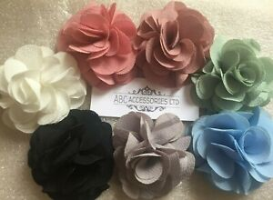 3D Flowers,3 x Flower £1.99 !!! SEW-ON 6 cm,Georgette,7colours, FREE Postage UK