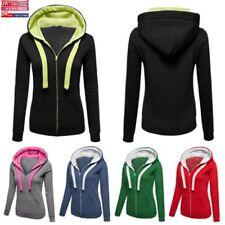 Ladys Nice Hoody Plain Colour Zip Up Hoodie Ladies Hooded Sweatshirt Tops Jacket
