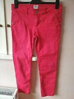 FIRETRAP WOMENS CHINO RED CROP TROUSERS SIZE 14 WAIST 32 INSIDE LEG 25 STRETCH