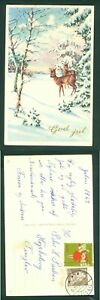 Denmark. Christmas Card 1963. Seal + 25 Ore. Tinglev. Deer In The Forest.Tinglev