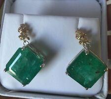Huge 30+ Carat Natural Zambian Emerald & diamond dangle 14k Gold & SS earrings