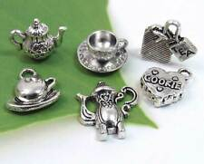 Set 6 TEA PARTY Charms, Antique Silver Tone Mixed Charm Collection Lot from US