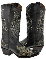 Women's Leather Studded Rhinestones Western Rodeo Cowboy Boots Snip Toe