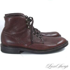 Allen Edmonds USA Higgins Mills Brown Grained Leather Suede Tongue Boots 11 D