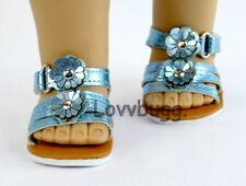 Blue Metallic Flower Sandals fit 18 inch American Girl Doll Dress Shoes LOVVBUGG