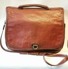 Vintage Tan Leather Messenger Laptop Bag By Texier France