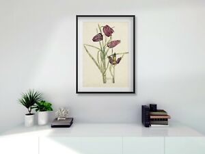 Rennie Mackintosh black FRAMED PRINT Fritillary  A4 digital print 11 x 14 frame