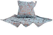 Set of 4 LD Cushion Covers 40x40cm Flocking on Polysilk Brown & Blue 680122