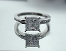 SOLITAIRE ENGAGEMENT 3.5 CT BRILLIANT PRINCESS CUT RING SOLID 14K WHITE GOLD