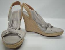 Corso Como Gray Soft Leather Espadrille Wedge Sandals 8M