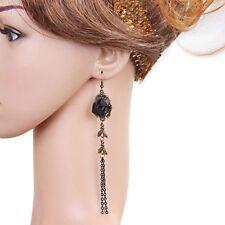1Pair Gothic Women Lace Earrings Ear Studs Handmade Black Rose Vintage