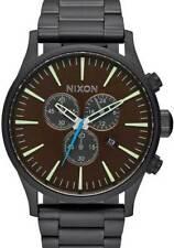 Nixon Sentry Chronograph Armbanduhr (Alles Schwarz / Messing/Braun)