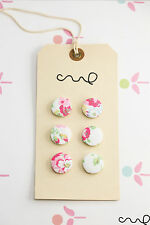NEW 6 x Handmade Cath Kidston Spray Flower Fabric Covered Buttons 22mm inc. VAT