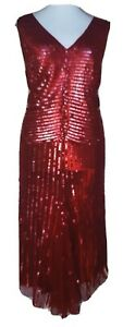 Ladies Red Sexy Sequin bodycon Embellished Long Evening Prom Dress Size 22 Berke