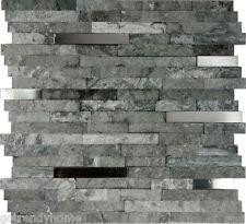 1SF- Gray Natural Stone Stainless Steel Insert Mosaic Tile Kitchen Backsplash