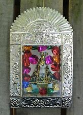 Old Fashion Style Hand Made Tin Nicho Retablo Virgin of Soledad Folk Art Mexico