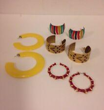 LOT 4 Pair Vintage Pierced Earrings RETRO 80's Large Oversize Hoops