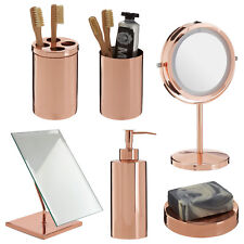 Clara Rose Gold Bathroom Set Basin Accessories LED Mirror Toothbrush Lotion Soap