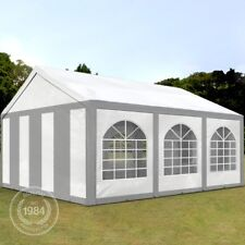 Partyzelt Pavillon 4x6m Bierzelt Festzelt Gartenzelt Vereinszelt Zelt grau-weiß