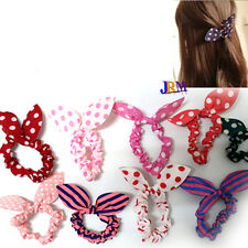 4x Bunny Rabbit Ears Polka Dots Scrunchy Hair Elastic Hairband Wire Bendy